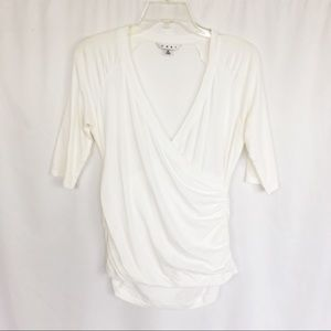 Cabi white ruched crossover top M
